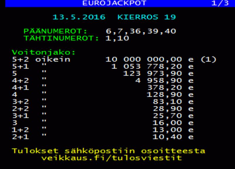 eurojackpot tulokset