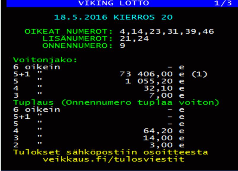 viking lotto tulokset